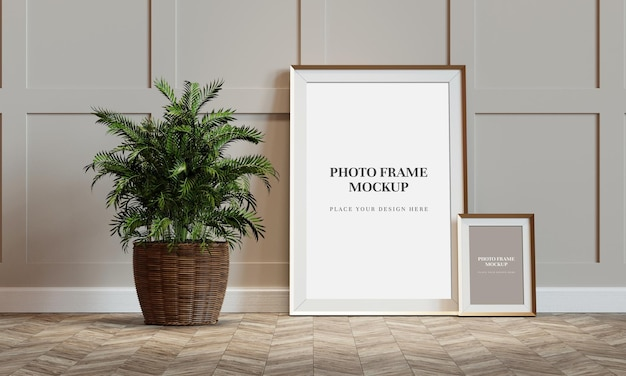 Blank photo frame mockup 3d rendering