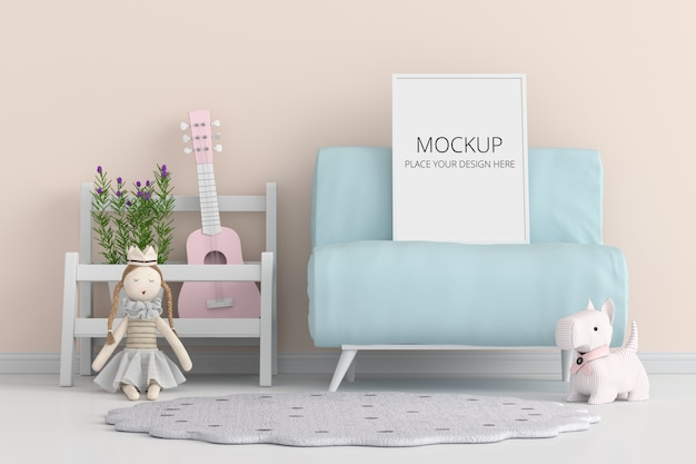 Blank photo frame for mockup on blue sofa Premium Psd