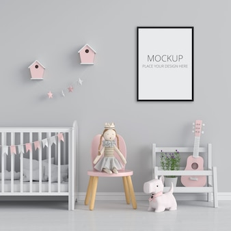 Blank photo frame for mockup in child room