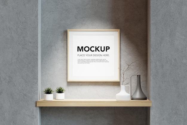 Blank photo frame mockup on concrete wall