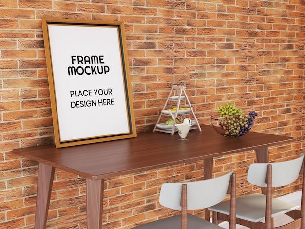 Blank photo frame mockup on the desk