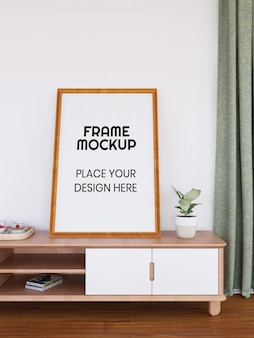 Blank photo frame mockup on the desk