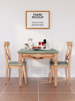 Blank photo frame mockup in the dining room