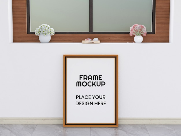 Blank photo frame mockup on the floor