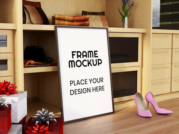 Blank photo frame mockup on the floor