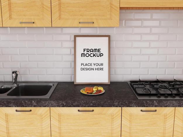 Мокап пустой фоторамки на кухне