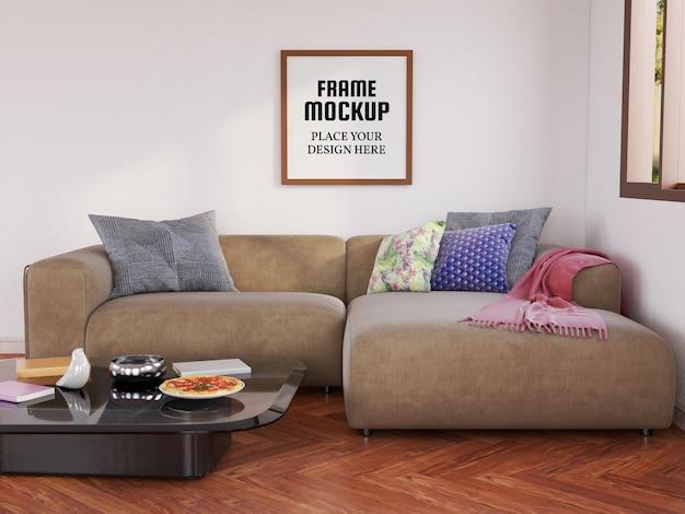거실에 빈 사진 프레임 모형