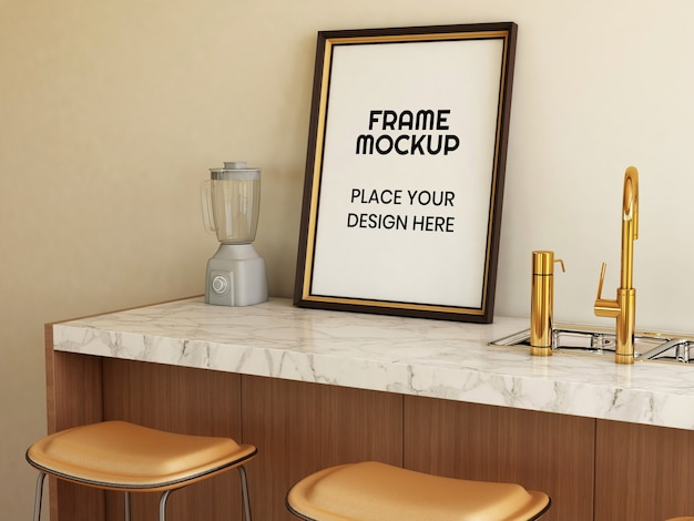 Blank photo frame mockup in the kitchen