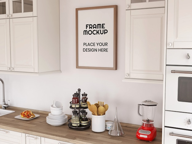Blank photo frame mockup in the kitchen