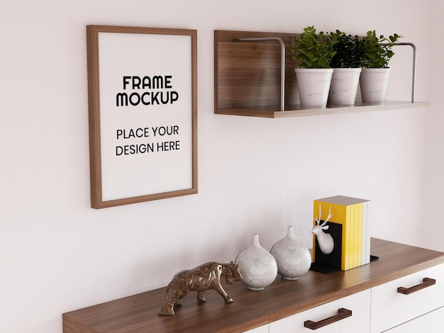 Blank photo frame mockup in the living room