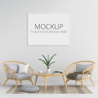 Blank photo frame for mockup in living room