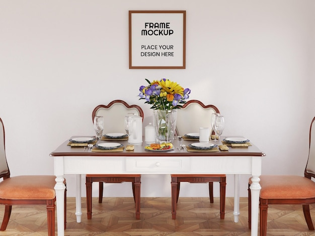 Blank photo frame mockup realistic in the dining room