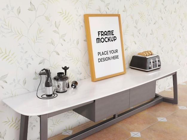 현대 책상에 현실적인 빈 사진 프레임 모형