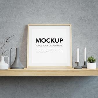 Blank photo frame mockup on wall shelf