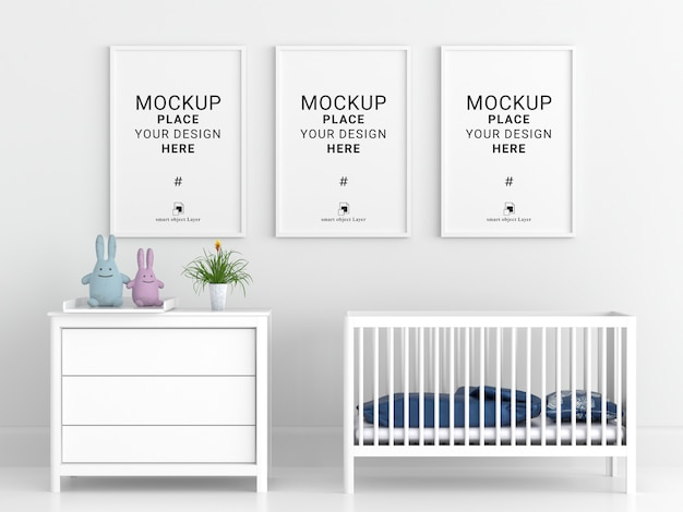 Blank photo frame for mockup in white child room