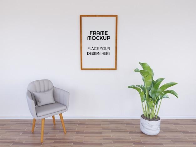 植物と椅子の空白のフォトフレームモックアップ