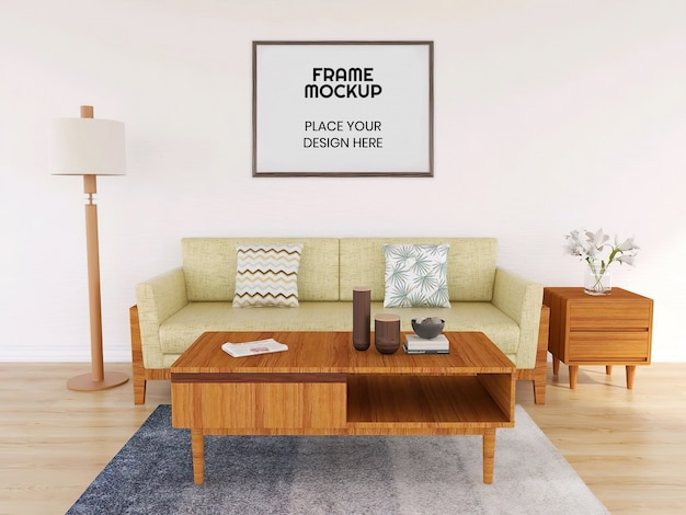 Blank photo frame mockup with plant and sofa