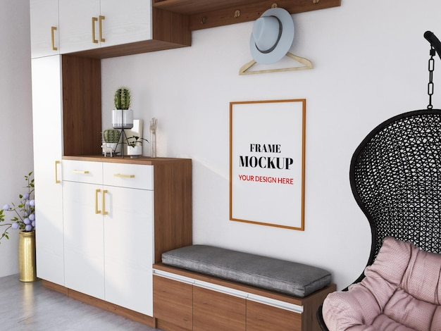Blank photo frame mockup on the wooden cupboard