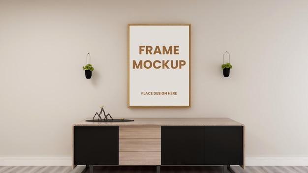 Blank photo frame poster mockup design in interior design