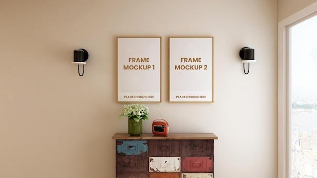 Blank photo frame poster mockup design