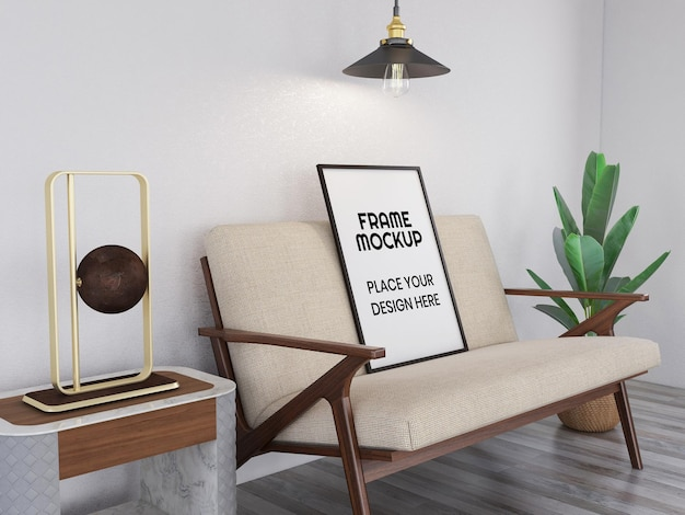 Blank photo frame realistic mockup on the chair
