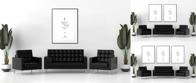 Blank photo frames for mockups in living room