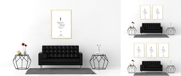 Blank photo frames for mockups in living room