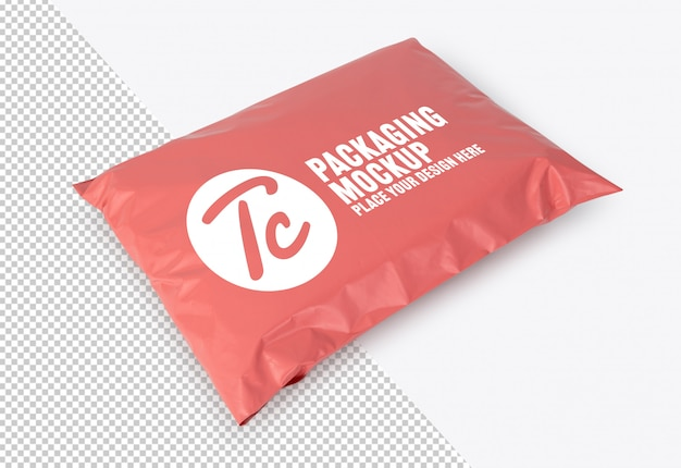 Blank pink plastic bag package mockup for your design