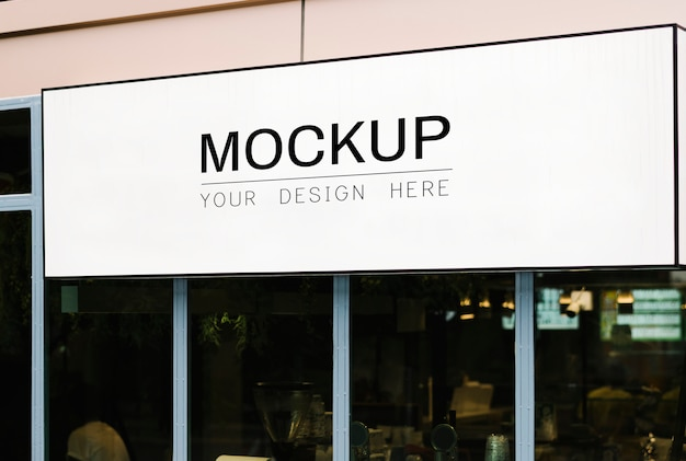 Blank rectangle shop sign mockup
