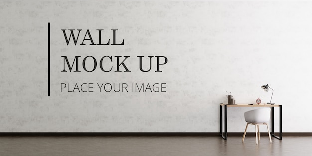 Blank room wall mock up with dark wooden floor and desk and chair