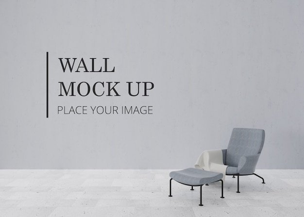 Пустая комната стены макет с мраморным полом и элегантный стул с подставкой для ног