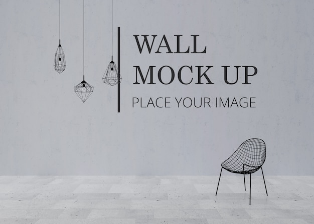 Blank room wall mock up with marble floor and metal frame chair