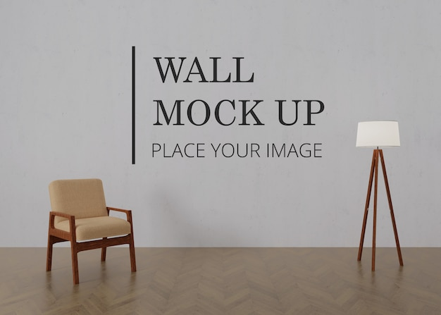 Blank room wall mock up with wooden floor - single brown wooden chair and lamp