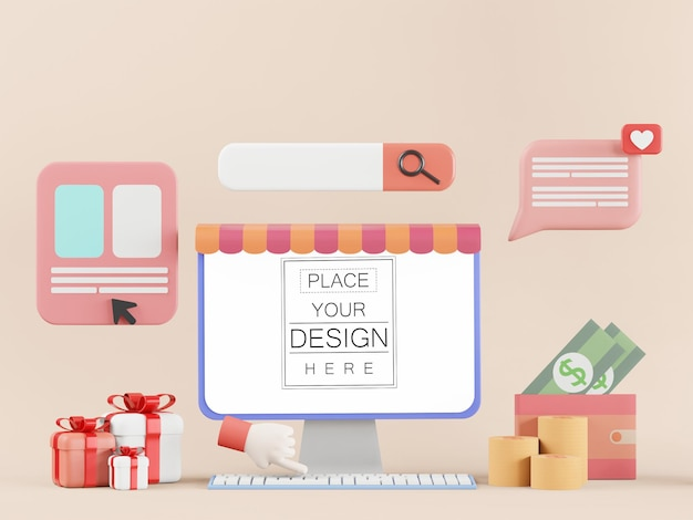 Blank screen computer with element psd mockup