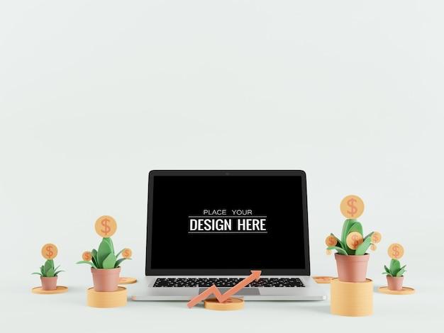 財務概念のための空白の画面のラップトップコンピューターのモックアップ