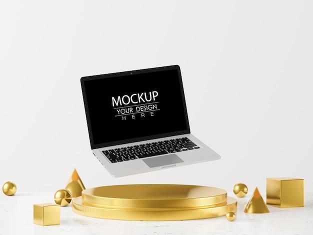 Пустой экран портативного компьютера макет на современном фоне