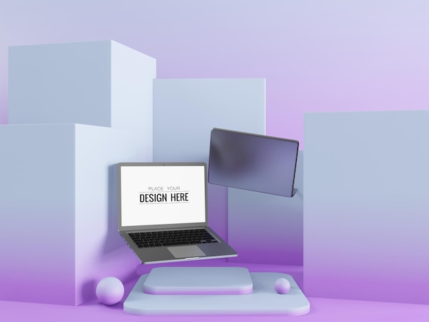 現代の背景の空白の画面のラップトップコンピューターのモックアップ