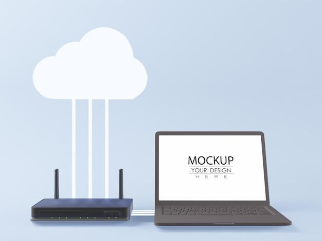 空白の画面のラップトップコンピューターのモックアップ