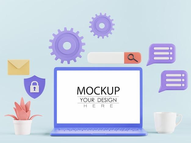 Пустой экран ноутбук с элементом psd mockup