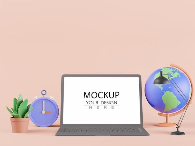 世界の地球儀、ランプ、時計、植物を備えた空白の画面のラップトップ