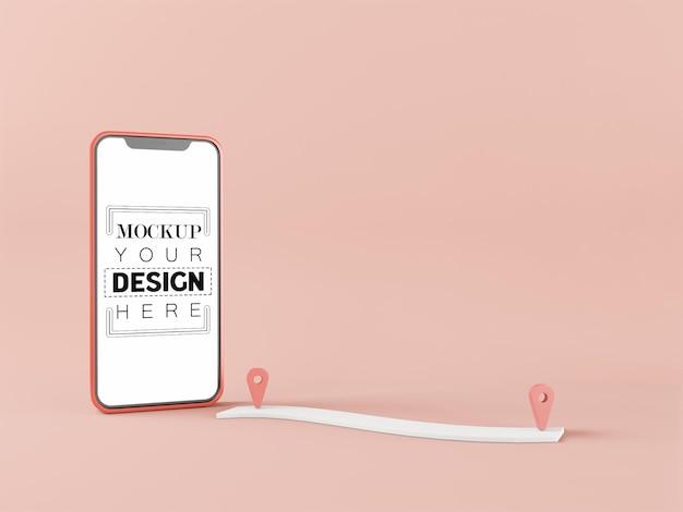 Пустой экран смарт-телефон компьютерный макет. концепция gps