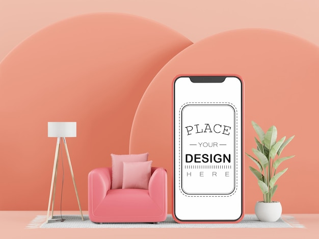 Blank screen smart phone computer  mockup for interior design
