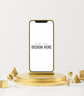 Blank screen smart phone computer  mockup on modern background