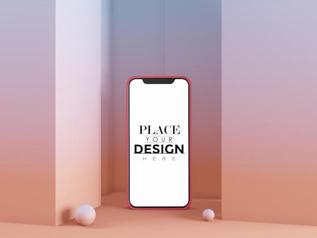 Пустой экран смартфона компьютерный макет на современном фоне
