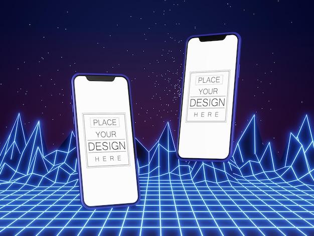 現代の背景に空白の画面のスマートフォンコンピュータモックアップ