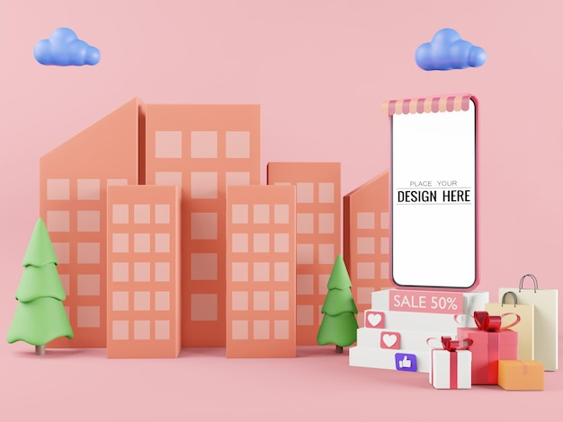 Blank screen smart phone computer  mockup for sales