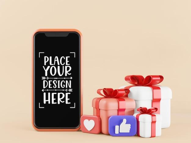 Пустой экран смартфона компьютерный макет с подарочными коробками