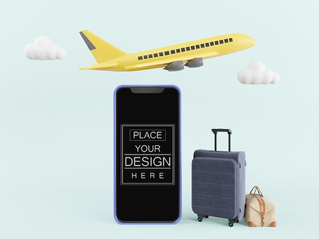 Blank screen smart phone mockup with luggage and flying plane