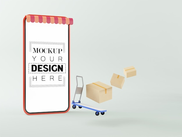 Blank screen smart phone mockup with trolley and parcels