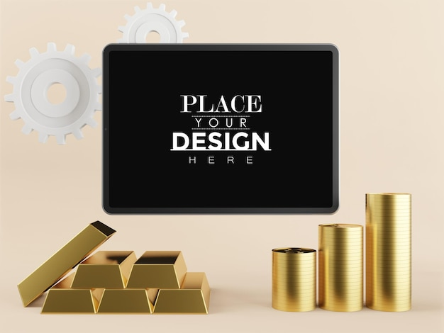 Blank screen tablet mockup with gold ingots